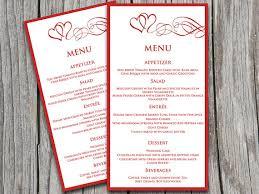 heart swirls wedding menu card microsoft word template valentine
