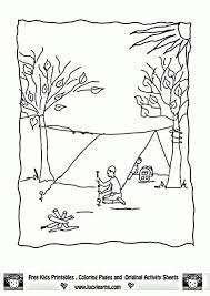 camping fall season coloring pages print free