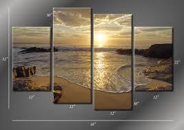 framed hugh 4 panel sunrise sea ocean wave sunset beach canvas