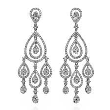 diamond chandelier earrings king jewelers diamond teardrop white gold chandelier earrings