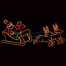 Outdoor Reindeer Christmas Decorations by Outdoor Decoration Waving Santa With Sleigh And Reindeer Lawn