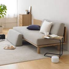 MUJI Home Dark Wooden Floor With Ash Color Furniture And Cotton - Muji sofas