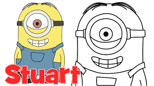 how to draw minions stuart step by step easy drawing for kids and