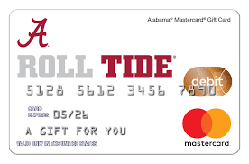 mastercard e gift card alabama mastercard gift card the only gift card for bama fans