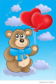 teddy balloons illustration of teddy with heart balloons