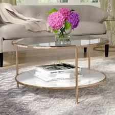 round glass cocktail table round geometric coffee table wayfair