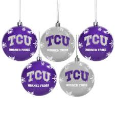 horned frogs 5 pack shatterproof ornaments