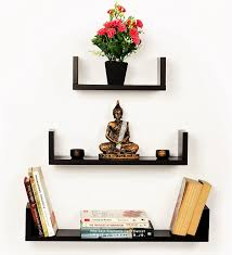 bluewud caesar set of 3 wall shelves wenge amazon in home