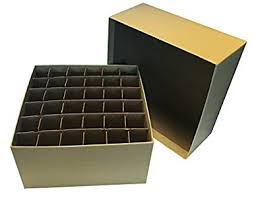 cardboard storage box with lid and cell divider 36 x 15 ml
