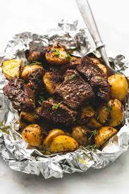 juicy and savory seasoned garlic steak and potato foil packs are