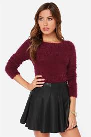 burgundy sweater cropped sweater fuzzy sweater 34 00