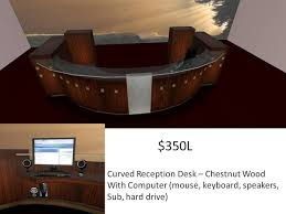 Curved Reception Desk Second Life Marketplace Curved Reception Desk Chestnut Wood1