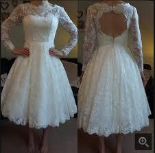Informal Wedding Dresses White Lace Open Back Short Wedding Dresses Ankle Length Long