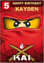 red lego ninja ninjago birthday card a5 personalised own words ebay