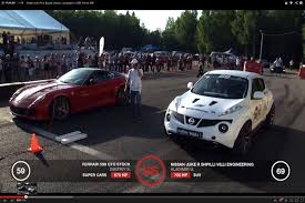 bugatti supercar nissan juke r vs bugatti veyron ugr lambo and ferrari 599 gto on