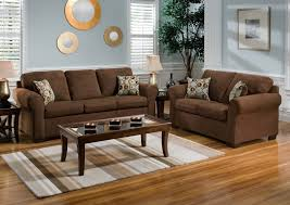 Livingroom Wall Colors Brown Set Sofa Soft Of Fabric Sponge With Glass Table Using Legs