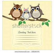 owl family birthday card template vector download free vector