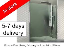 E Shower Door Shower Enclosures Longueur 80 Fixed Glass With Fixed Closing