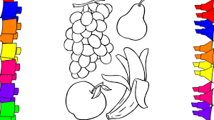 fruits drawing pages for children grape banana an apple coloring