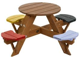 Kids Wooden Picnic Table Furniture Appealing Small Kids Wooden Round Picnic Table Design