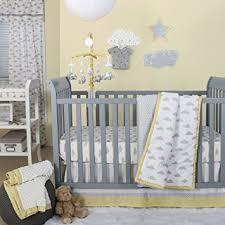 Yellow And Gray Crib Bedding Set Grey And Yellow Cloud Print 4 Baby Crib Bedding