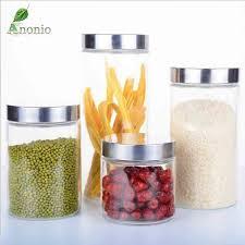 bocaux cuisine 2 pcs transparent bocaux en verre bocaux joint grains contenant