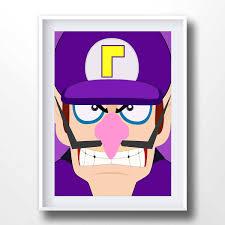 Waluigi Poster Super Mario Bros Print Nintendo Printable