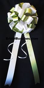 Wedding Pew Bows Set Of 14 Olivine Green U0026 White Wedding Pew Bows Church Decorations