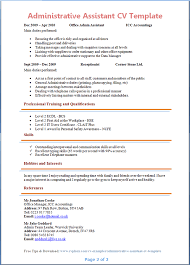 Hobbies And Interests On Resume Examples by Administrative Assistant Cv Template Tips And Download Cv Plaza