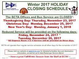 bcta winter closings bcta