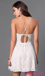 short lace dress with spaghetti straps promgirl