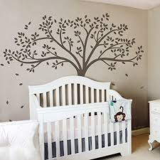 Brown Tree Wall Decal Nursery Monochromatic Fall Tree Extended Wall Decal Tree Wall Sticker