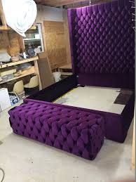 tufted bed bench upholstered bench purple velvet by newagainuph