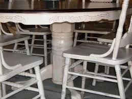Painted Oak Dining Table And Chairs Remodelaholic Re Stained And Painted White Oak Pedestal Table