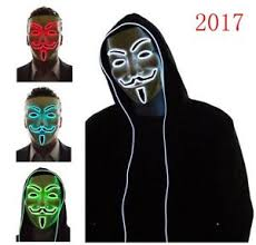 v for vendetta costume light up el mask v for vendetta anonymous fawkes