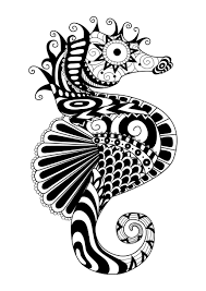zentangle sea horse by bimdeedee water worlds coloring pages