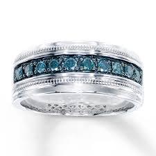 Mens Wedding Ring 2 by Kay Men U0027s Blue Diamond Ring 1 2 Ct Tw Round Cut Sterling Silver