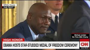 Medal Meme - star of crying jordan meme cries while receiving presidential