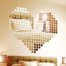 mirror decals home decor 3d silver mosaic mirror wall stickers home decor bedroom modern