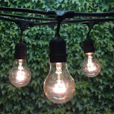 100 ft black commercial medium string light suspended u0026 a19 clear