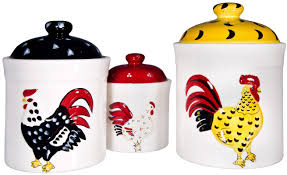 home essentials and beyond french rooster 3 piece kitchen canister