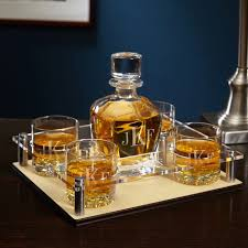 monogrammed serving tray monogram whiskey decanter tray with glasses 6 pc set
