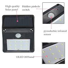 Motion Sensors For Lights 12 Led Solar Powered Pir Motion Sensor Light Outdoor Garden