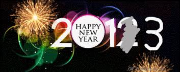 2013 new year text flash banner fireworks clipart image