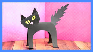 black cat paper craft halloween crafts for kids youtube