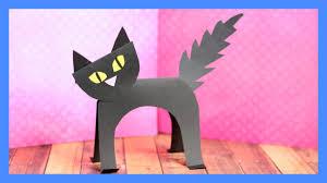 Halloween Crafts Paper Black Cat Paper Craft Halloween Crafts For Kids Youtube