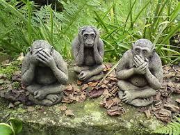garden set of 3 wise monkey ornaments hear no see no speak