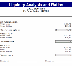 liquidity report template liquidity analysis ratios