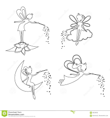 set of outline fairy with a magic wand stock vector image 88328305