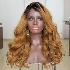 honey brown hair with blonde ombre side middle part honey blonde ombre full lace wig two tone 1b 27